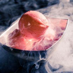 Raspberry Liquid Nitrogen Sorbetto // Fuel your passion with more recipes at www.pregelrecipes.com