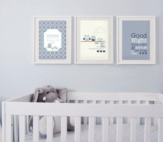 Nettbutikk med superfine prints for barn!! Eks. Baby Boy's Owl Nursery Posters - Set of 3 Prints via Etsy.