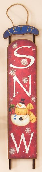 "20"" Wood Christmas Sled - just painted my own with a blue and creamy white theme - love it!"