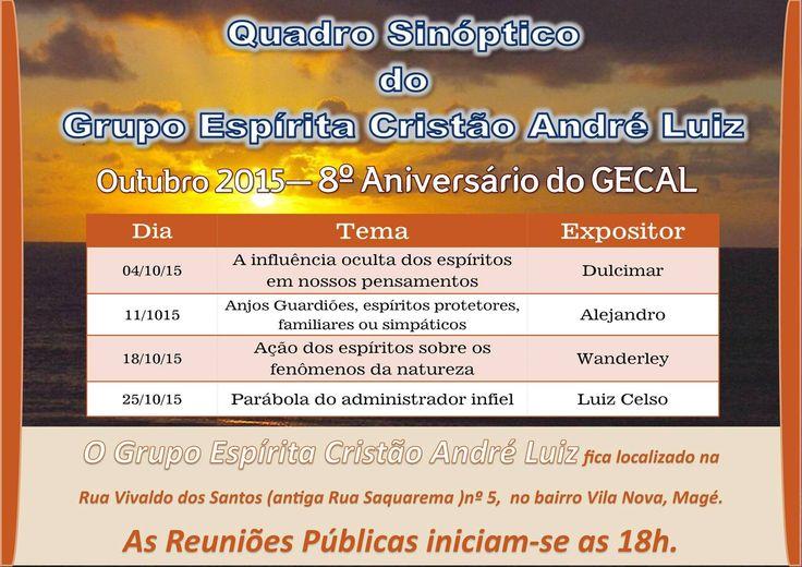 Calendário de Palestras Públicas do GECAL de Outubro - Magé - RJ - http://www.agendaespiritabrasil.com.br/2015/10/01/calendario-de-palestras-publicas-do-gecal-de-outubro-mage-rj/