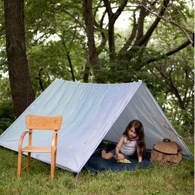 Make an Outdoor Play Tent for Kids with a Sheet, some string/rope and safety pins! :)
