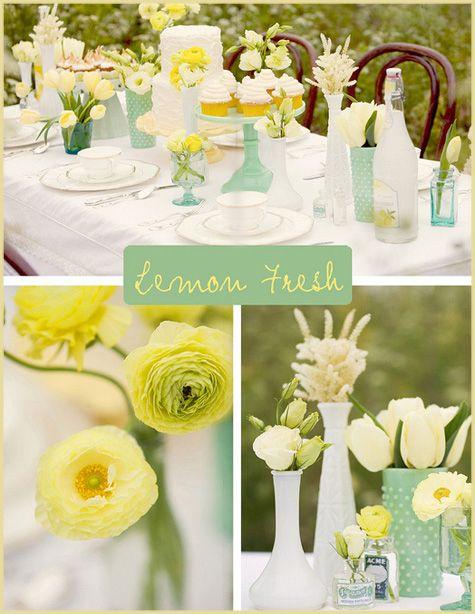 Decoración-Baby-Shower-verde-menta-y-amarillo-mesa-dulce-al-aire-libre