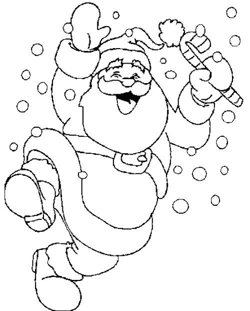 Santa Coloring Pages Pdf : Santa claus dancing snow coloring page pages