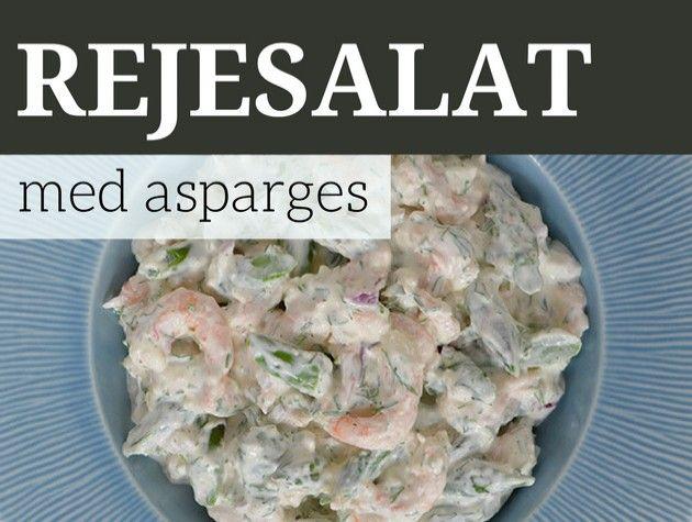 Fantastisk rejesalat med friske asparges, creme fraiche og finthakket dild.