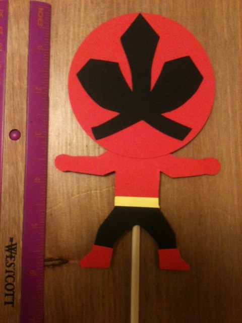Power Rangers Samurai inspired centerpiece picks 5 pcs for birthday party can also be used in favors  by mylove4art, $15.25