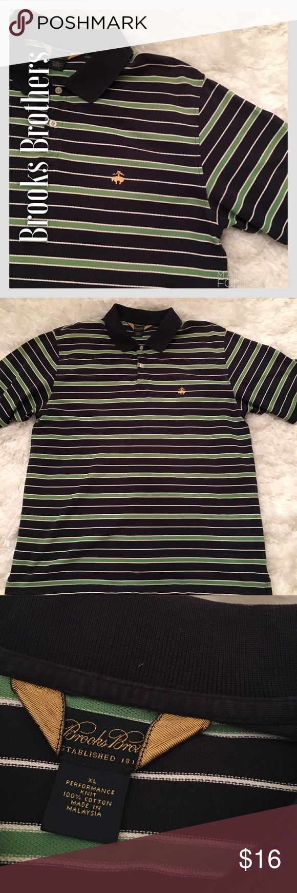 Brooks Brothers Blue & Green Striped Polo Shirt Brooks Brothers Blue & Green Striped Polo Shirt. Great condition. No stains or fading. One tiny wear at top button area that can't be seen at all when buttoned and barely seen when not. Price reflects this worn area. Brooks Brothers Shirts Polos