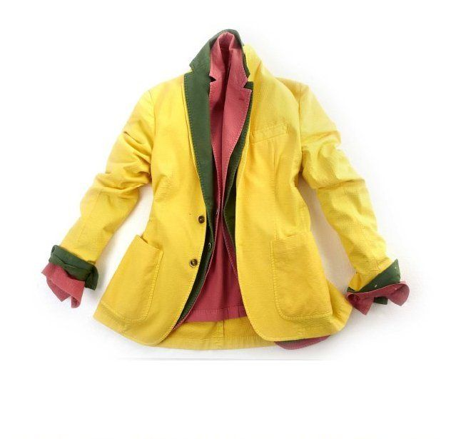 #HYDROline #Jackets by #ANGELONARDELLI1951: in structured weave fabric, dyed, in the following colours: lemon yellow, grass green and strawberry colours.