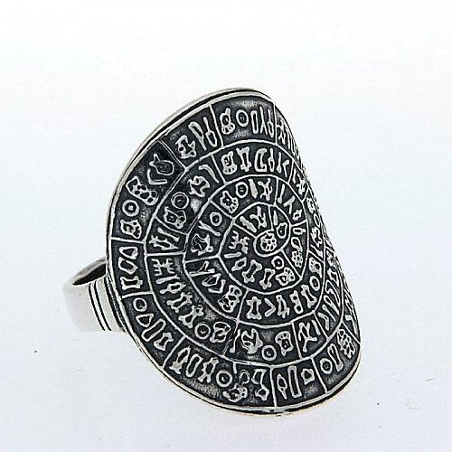 Phaistos disc silver ring greek jewelry bijoux by ThetisTreasures