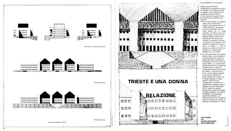 """Aldo Rossi, Max Bosshard, Gianni Braghieri, Project for the regional administrative center, Trieste, 1974 (Palazzo della Regione en Trieste, in """"2c: Construccion de la ciudad"""", Barcelona, Grupo 2c, 1975, n. 5, p. 30)"""