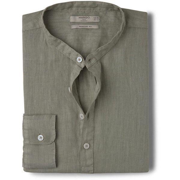 MANGO MAN Regular-Fit Mao Collar Linen Shirt ($60) ❤ liked on Polyvore featuring…