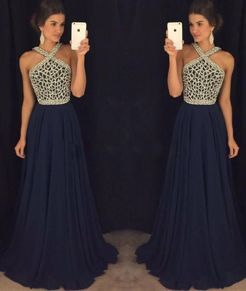 High Quality Prom Dress,Navy Blue Evening Dress,Beaded Party Dress,Halter Dress