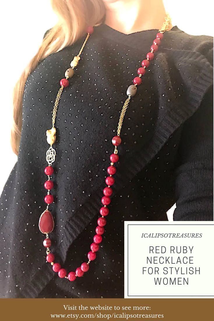 Red ruby necklace for women. This gemstone necklace with gold details, is a perfect gift for her. Your mum, girlfriend, friend or wife will be happy to recive it. Visit the website to see more.