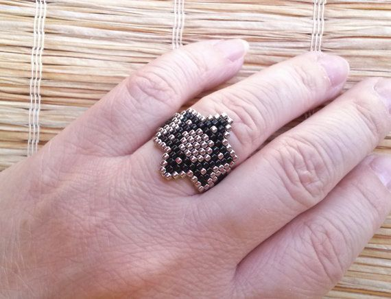 Silver and Black Star of David Seed Beads Ring by EleganceAndFun