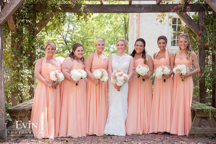 These salmon bridesmaid dresses were the perfect color for this spring plantation wedding in Nashville, TN! #bridesmaiddressed #weddings #weddingphotography http://evinphotography.com/blog/