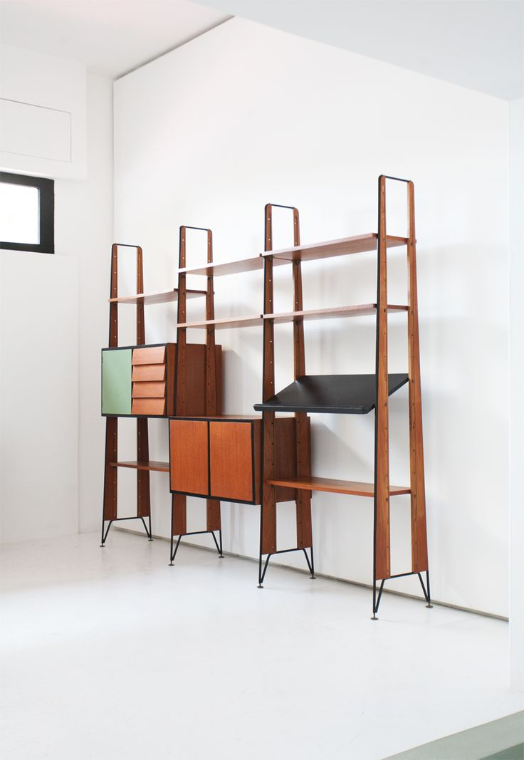teak iron and brass wall unit find this pin and more on wall dividers mid century by bookshelf
