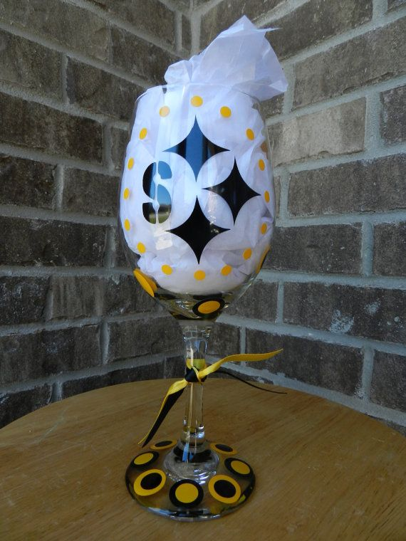 Pittsburg Steelers Wine Glass by dottindivas on Etsy, $13.00