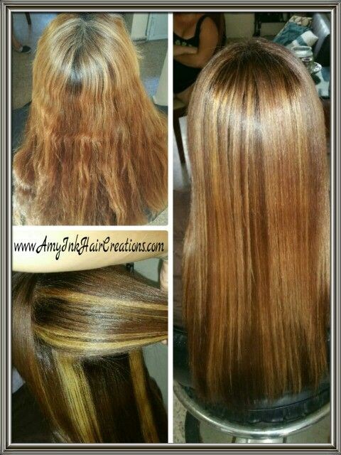 Did roots first cause she had white hair, then added full color spice brown and thick blonde highlights, blower and iron