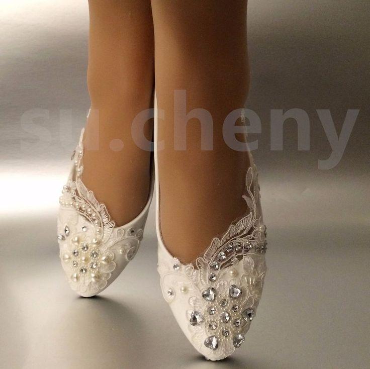 White Light Ivory Lace Pearls Crstal Flat Ballet Wedding Shoes Bridal Size  5 12