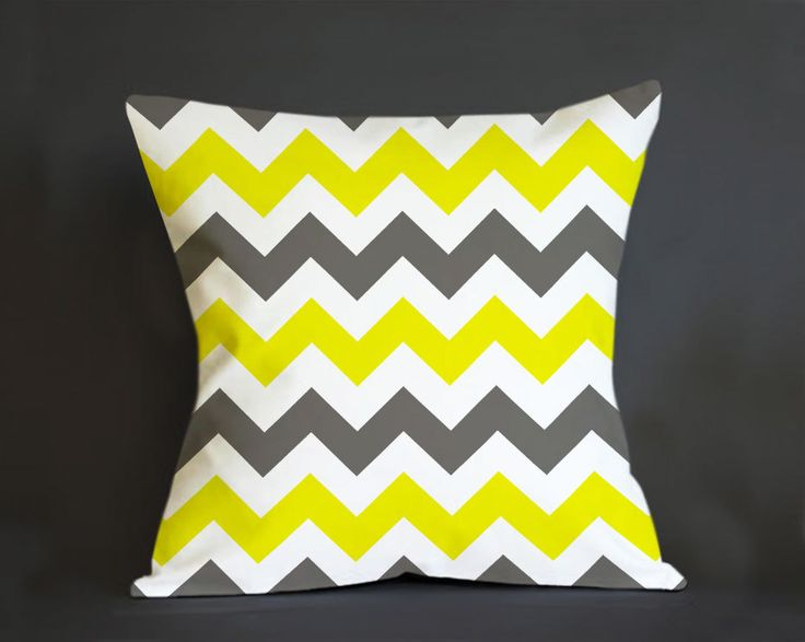 Pillow Cover, Grey Yellow Chevron Pillow - Custom Pillow cover - Pillowcases by clingartshop on Etsy