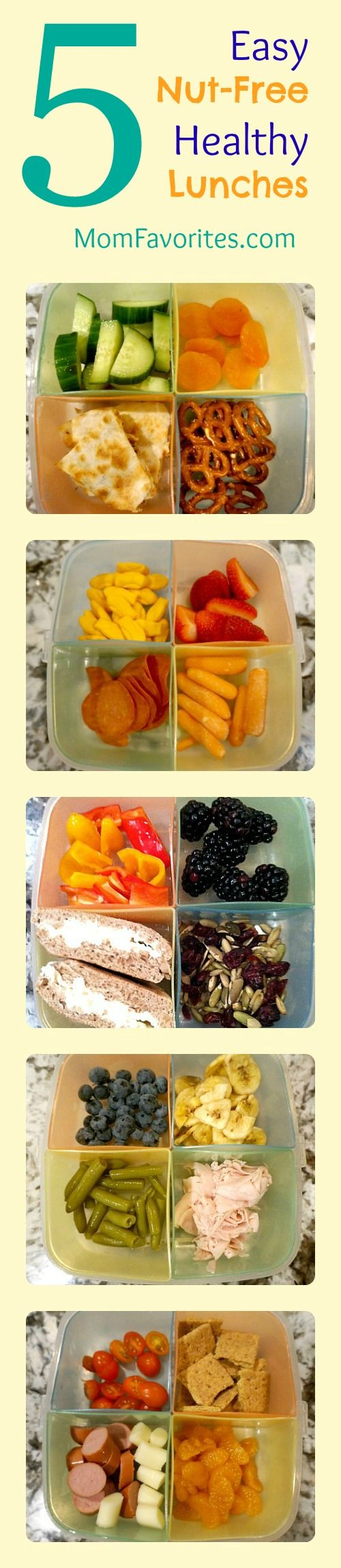 Five easy #nutfree #lunchbox ideas.  Kids love them... not bad for adults either! :)   post from @Victoria Olson Favorites {Katie}