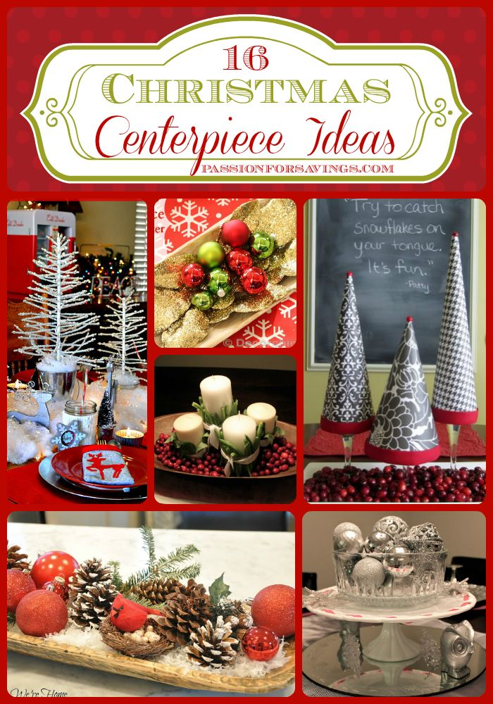 I love having a great centerpiece on the Christmas Dinner table. Here are 16 great Christmas Centerpiece Ideas! #christmas #christmasdecor