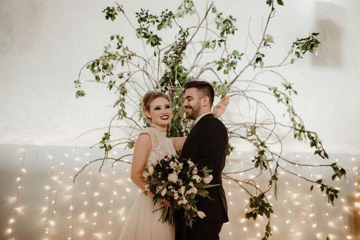Wedding ceremony decoration, black and white wedding, fairylight design