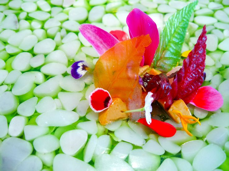 "Primavera - ""Spring on the plate"" also of Quique Dacosta fame. Lobes of foie gras with raw prawns, candied leaves and flowers"