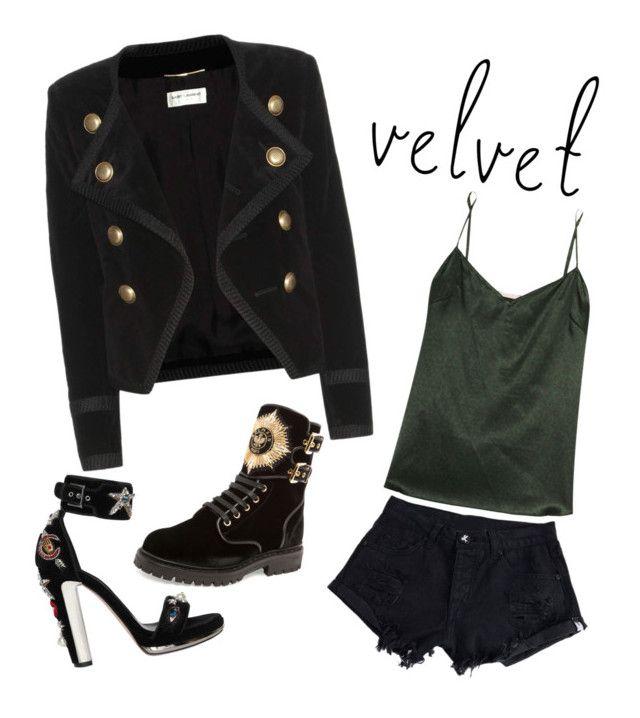 """Velvet"" by amaliamatei on Polyvore featuring Yves Saint Laurent, STELLA McCARTNEY, Alexander McQueen, Balmain and velvet"
