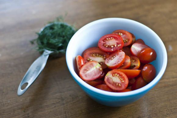 Pickled Cherry Tomatoes adapted from Bon Appetit (easy refrigerator pickle)