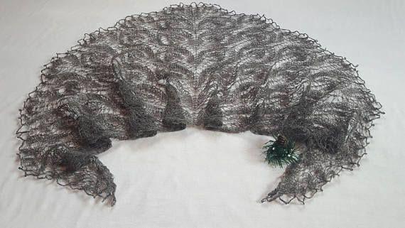 Gray lace shawl knitted shawl estonian lace Wool
