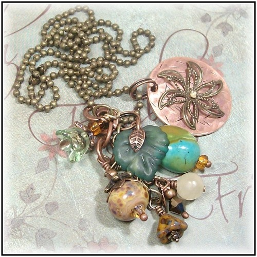 handmade necklace with hand textured metal, artisan lampwork, gemstones and copper.  I'm loving metal jewleryJewerly, Metals, Artisan Lampworking, Diy Jewelry, Beads, Hands Texture, Jewlery Ideas, Diy Jewlery, Handmade Necklaces