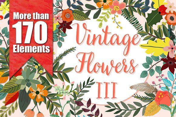 Vintage Flowers III by Mia Charro on @creativemarket