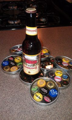 Good Things Challenged: Bottle Cap Coasters http://www.candlemakingsupplies.net/glass--gift-boxes--container-jars--lids/pvc---metal-lids-for-glass-candles/cate_105/p___P0962625.html