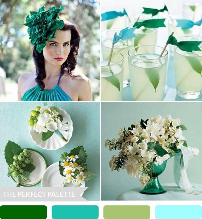 aqua & emerald http://www.theperfectpalette.com/2013/09/10-wedding-color-palettes-that-arent.html