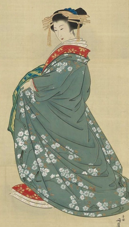 Oiran. Main detail of a hanging scroll; ink and color on silk, 19th century, Kyoto, Japan by artist Tangai. MFA.