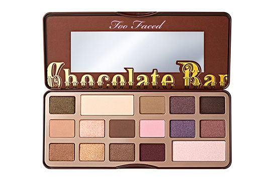 Jenner claims this is her favorite palette. For her eyes, she uses a mix of the first and third hues, and then swipes the white powder along her brow bones. The dark shadow on the top right serves as eyeliner. Too Faced Chocolate Bar Eyeshadow Palette, $49, available at Too Faced.  #refinery29 http://www.refinery29.com/2015/11/98255/kylie-jenner-makeup-routine-video#slide-10