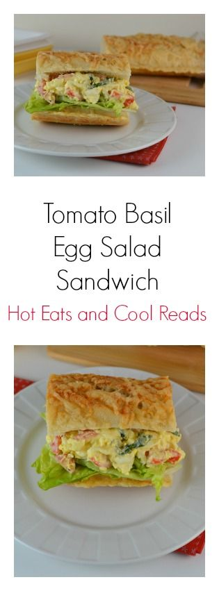 This egg salad is served on a delicious crusty baguette with a touch of basil! Perfect for lunch! Tomato Basil Egg Salad Sandwich from Hot Eats and Cool Reads!
