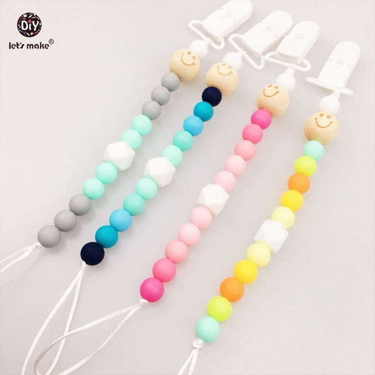 Let's make Baby Pacifier Clips 4pcs Colourful Chew s  Teething Necklace  Silicone Teether Dummy Clip Baby Teether #Affiliate
