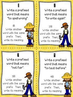 FREE TASK CARDS for prefixes and suffixes