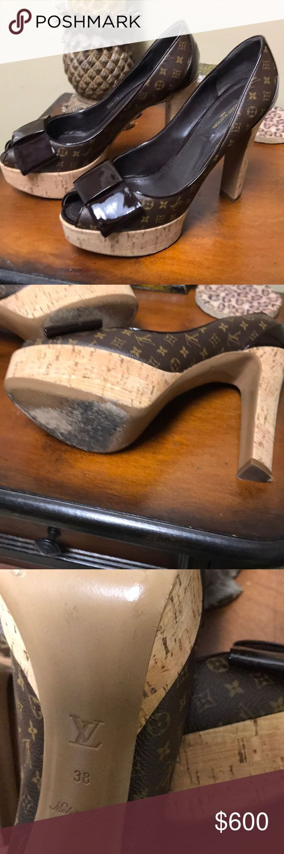 Authentic Louis Vuitton Monogram Cork Heels Excellent condition. Authentic Louis Vuitton Heels. Size 38 or 8 in US. Louis Vuitton Shoes Heels