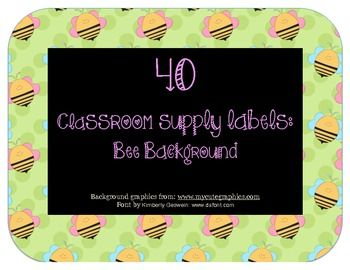 40 Classroom Supply Labels Bee Theme