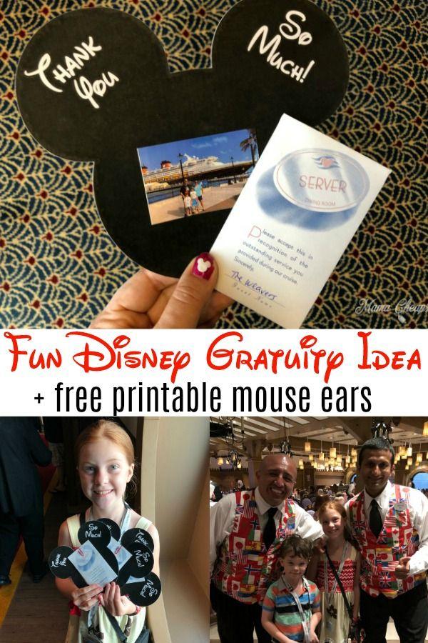 Fun Disney Gratuity Idea Printable Mouse Ears Template Mama Cheaps Disney Halloween Cruise Disney Dream Cruise Disney Discounts