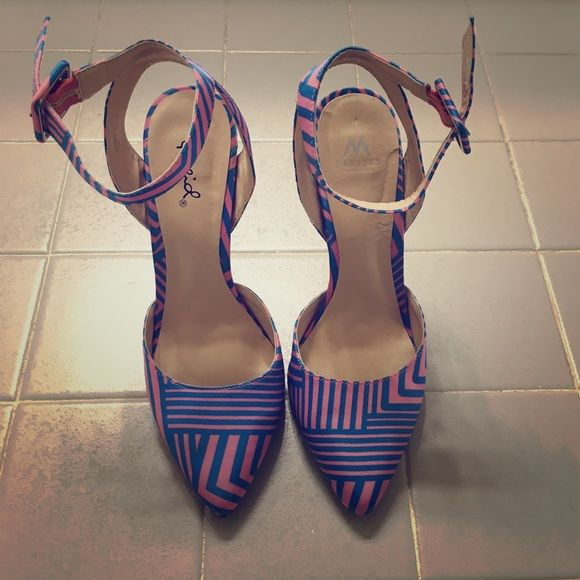 Multi Color Strappy Heels Size 7. From the Madison Collection (Shoe Dazzle). Satin-like material upper. Worn once. True to size. Thanks for looking! Shoe Dazzle Shoes Heels
