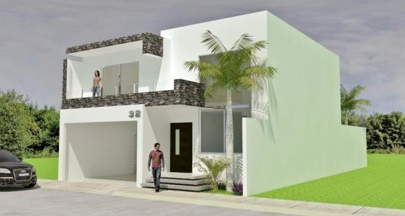 Fachadas Minimalistas: Diseño de fachada minimalista con doble cochera techada