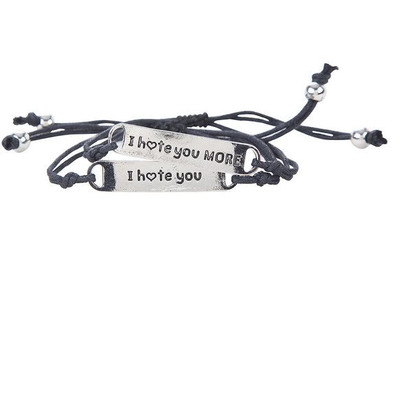 I Hate You Best Friend Bracelet Set Hot Topic ❤ liked on Polyvore featuring jewelry, bracelets, rope bracelet and cord bracelet