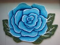 Tamehome Rose Carpet child rug Handmade Rug Anti-slip Mat Blue Rose Rug Rustic Area blanket Floor Mats Kitchen Area Bathroom Rug
