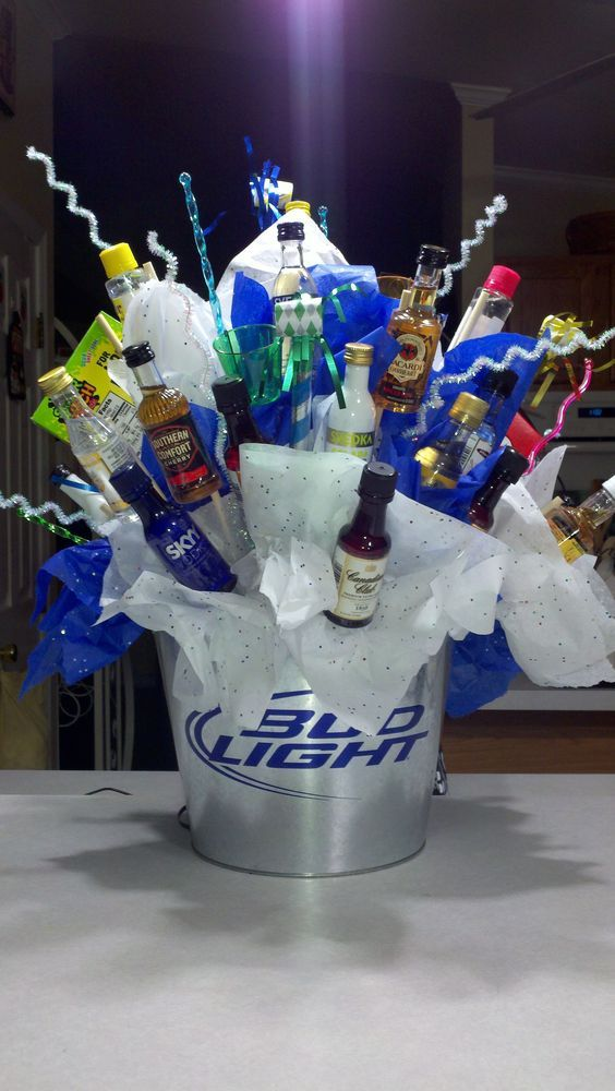 Shot bottle bouquet DIY Fathers Day Gift Basket Ideas
