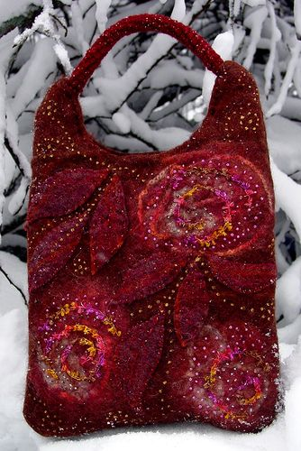 rose felted purse