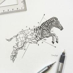 """Geometric Beasts | Zebra"" by Kerby Rosanes"