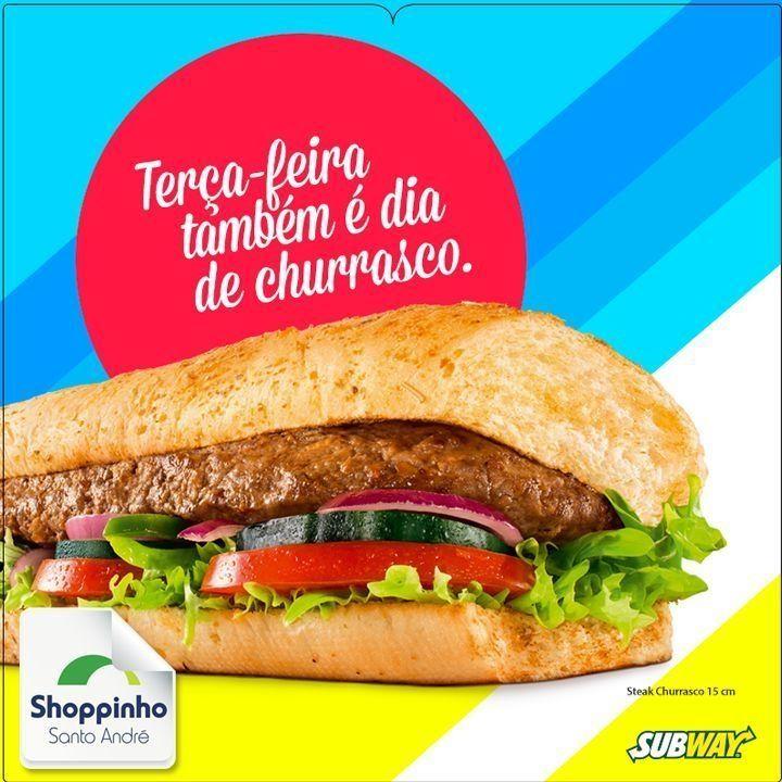 Se liga no Barato do Dia: o churrasco que é um barato.   #Subway #ShoppinhoSantoAndré #fome #lanche #gostoso